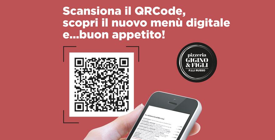 È arrivato il QRCODE menù in pizzeria Gigino&Figli in conformità dei recenti DPCM in materia di prevenzione Covid-19.